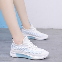 Oeak Women Sneakers Vulcanized Woman Lace Up Mesh Knitted Shoes Female Low Heels Shoes Soft Sole Ladies 2020 Casual Footwear