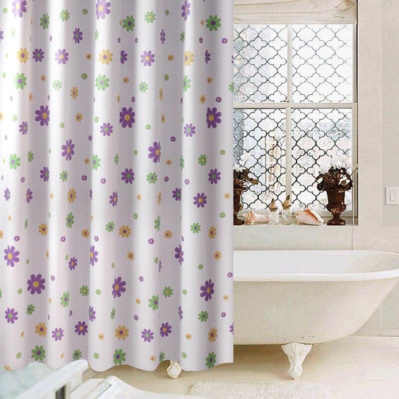 2020 fondo blanco impermeable a prueba de moho con cortina de baño de flor púrpura