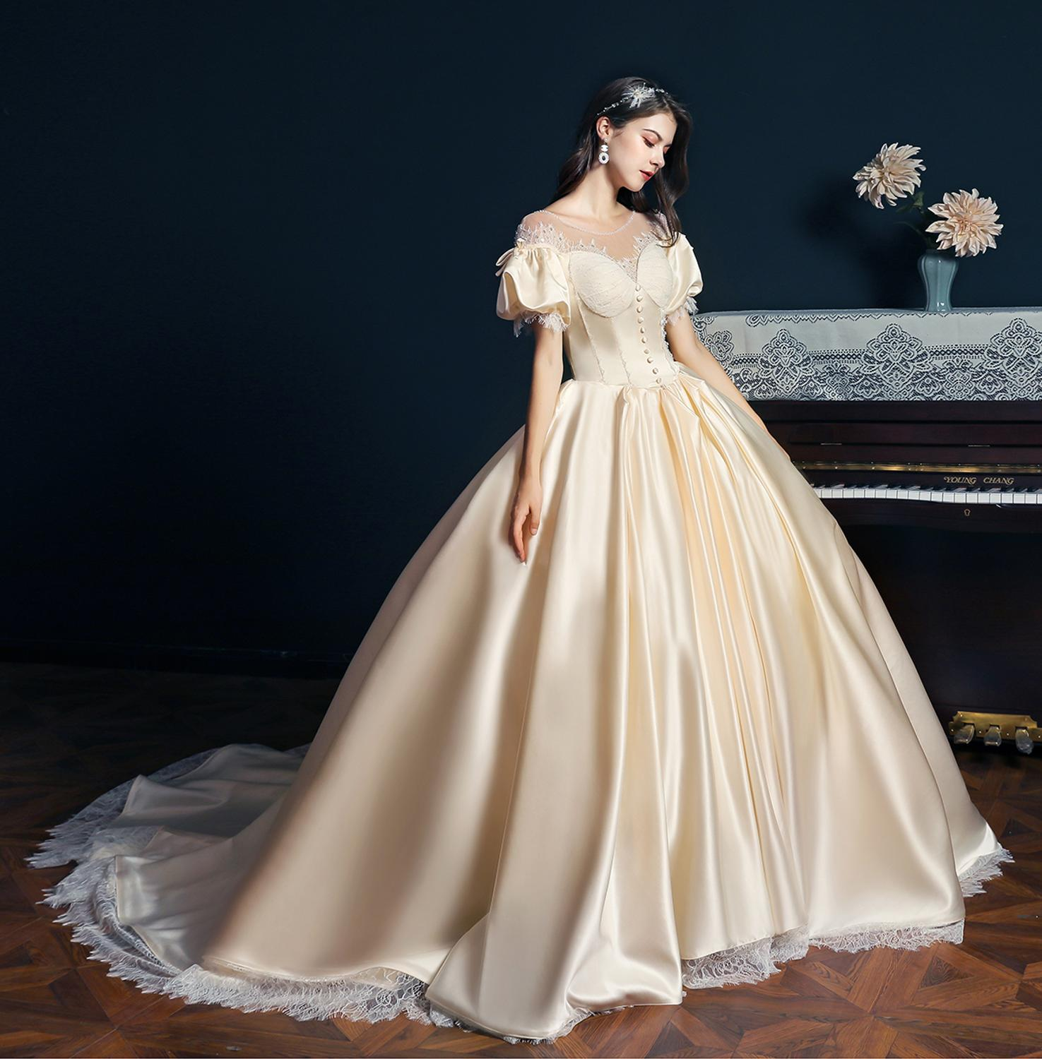Get Palace Style Queen Wedding Dress Handmade Pearl Vintage Lantern Sleeve Cathedral Bridal Gown Factory Price Real Picture 4060#