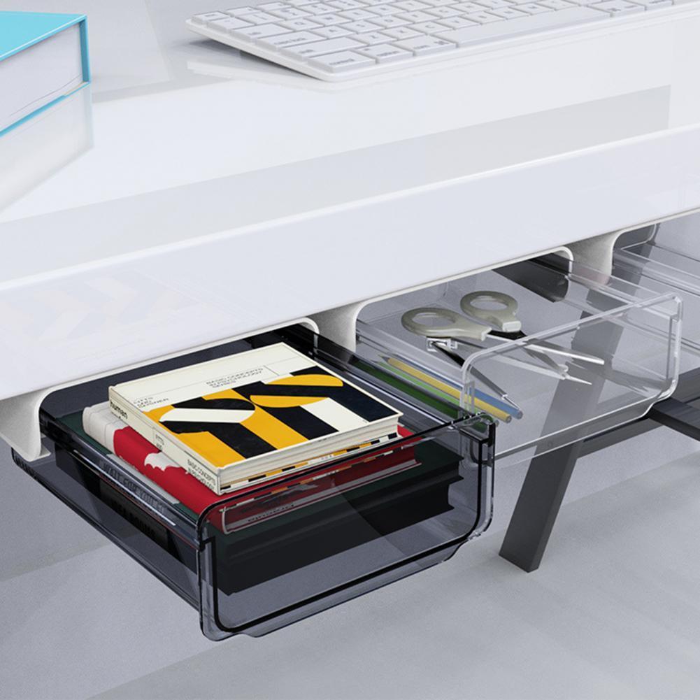Ящик для хранения под столом, самоклеящийся скрытый органайзер для офиса и дома, самоклеящаяся Скрытая коробка для хранения, органайзер для...