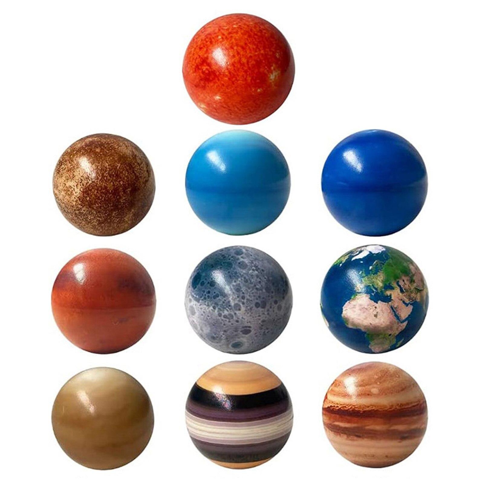 6,3 см восемь планет Луна солнце Звезда шар игрушка красочный надувной губка Эластичный Печатный Звездный шар Детская развивающая игрушка п...