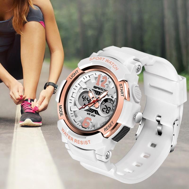 SANDA Women Watches Fashion Sport Watch LED Digital Quartz Casual Week Clock  Dual Display Wristwatch Ladies Watches 2020 enlarge
