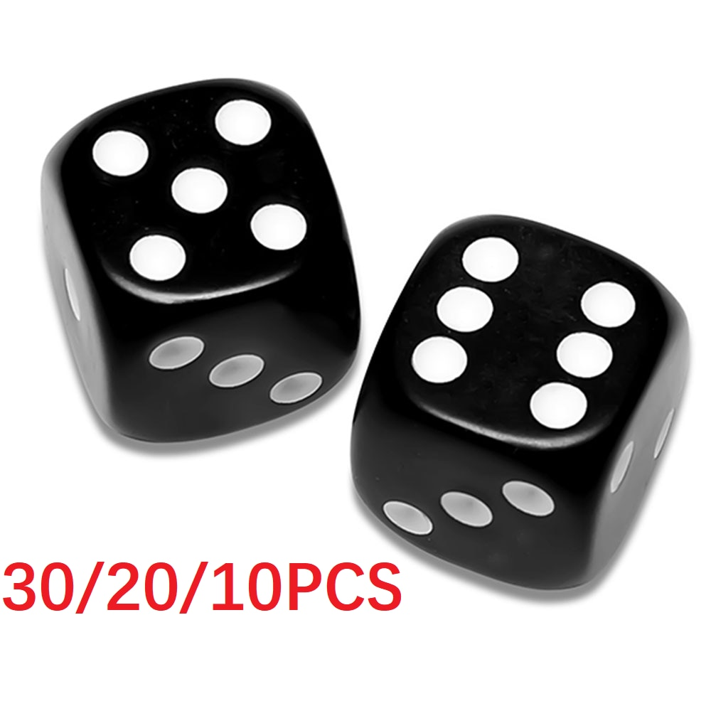 30pc 20PC 10PC12mm Black Dice Set Dices Rolling Plastic Gaming Parties Board Game Six Sided Party Club Bar Entertainment Gaming