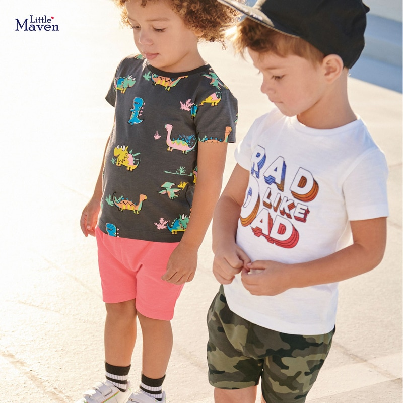 Little maven sets Summer Boys Clothes Kits para niños Cotton Dinosaur Childrens Sets camiseta + shorts Boutique Outfits