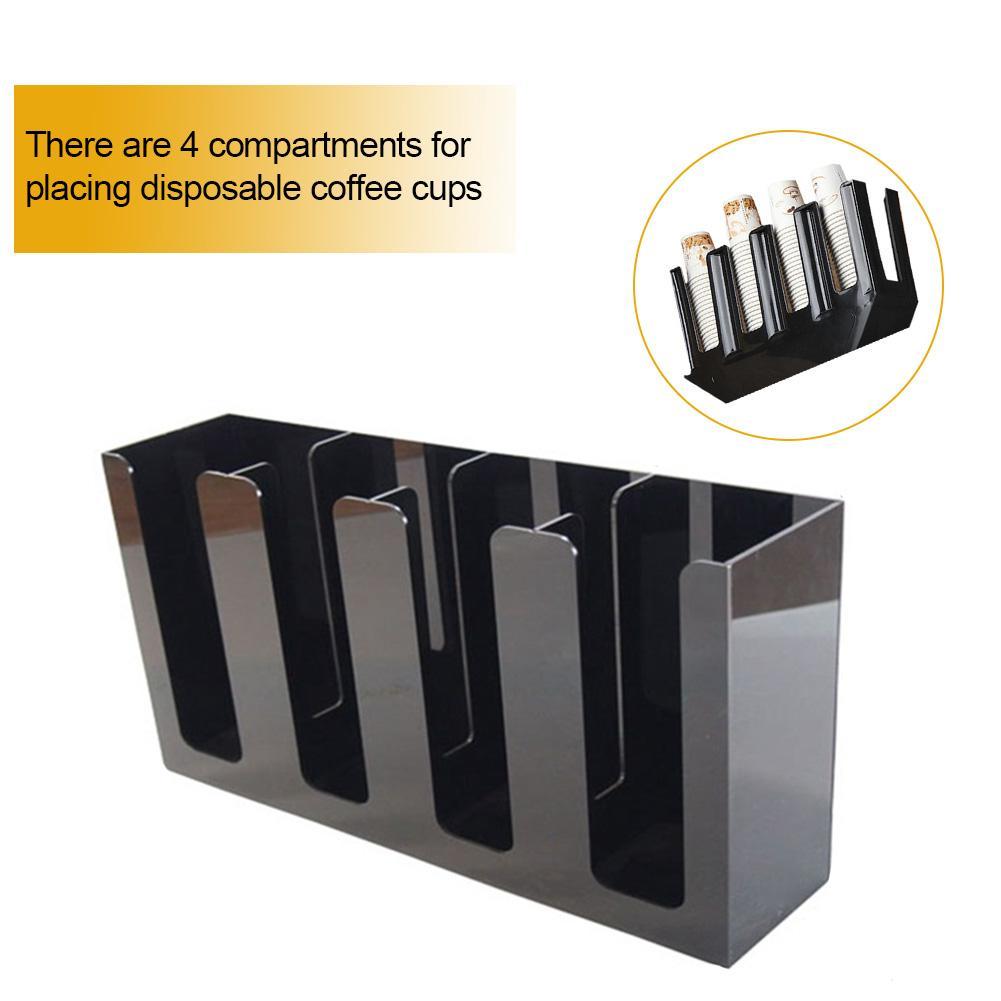 Suporte de copo descartável de papel plástico abs com 4 compartimentos para lojas de conveniência cafeterias salas de conferências