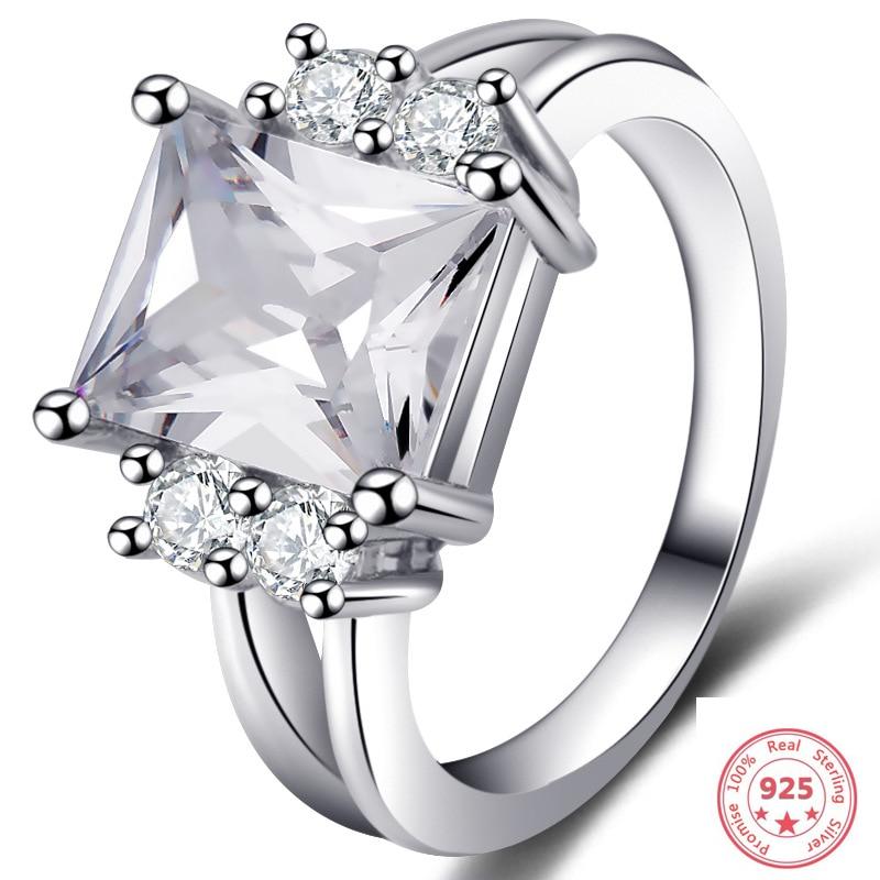 Anillos de diamantes de Color plateado 925 para mujer, Anillos de Cuadrado hueco masculinos, joyería de zafiro Bizuteria y anillo de Bizuteria de rubí obsidiana