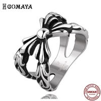 goamya 316l stainless steel rings bowknot gothic vintage rock punk ring for men and women wedding fashion jewelry gift best