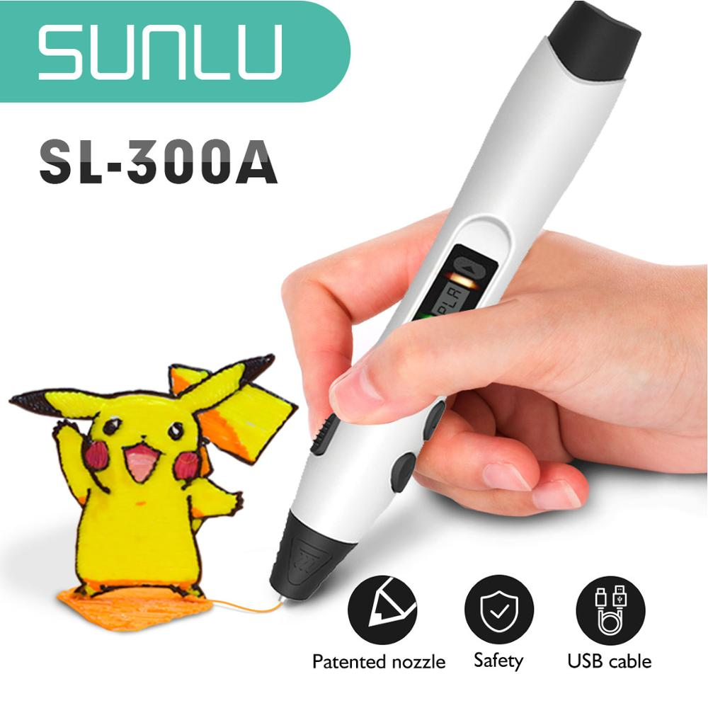 3D الطباعة القلم مجموعة SL-300A 4 ألوان مع 10m/10 لفات PLA خيوط 1.75 مللي متر الأطفال Dooling 3D الأقلام أدنى Teperature هدية مربع مجموعة