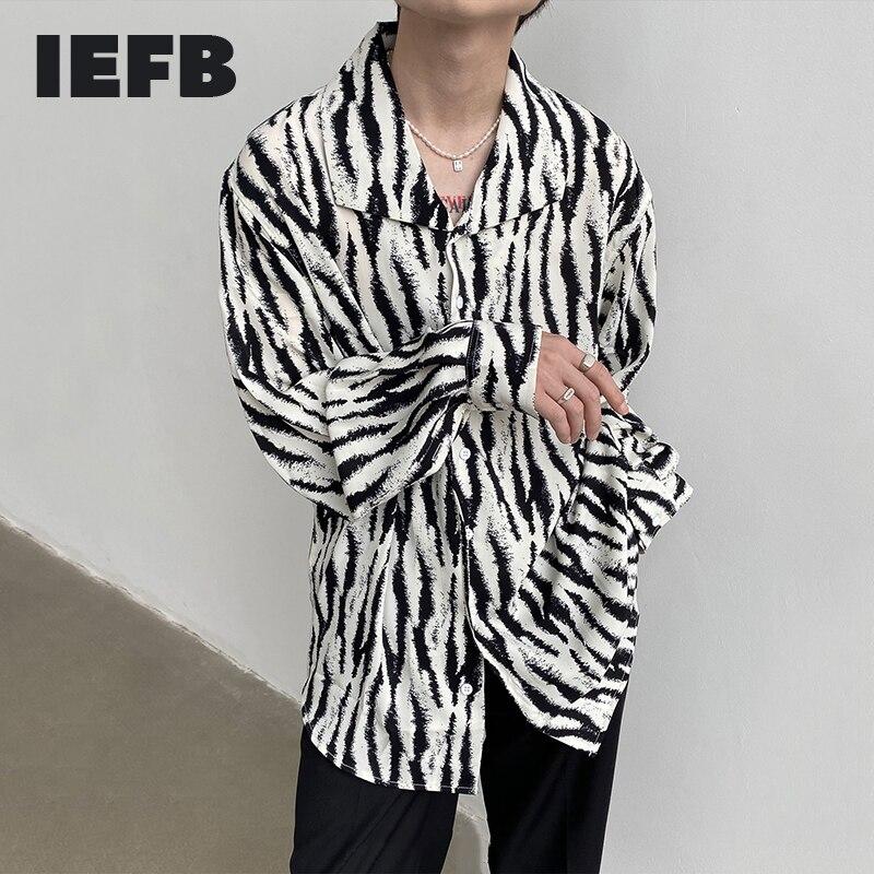 IEFB المتخصصة تصميم الفرنسية التلبيب الكبير طوق الجليد رقيقة طويلة الأكمام قميص الرجال والنساء ارتداء زيبرا طباعة السببية القمصان 9Y7946