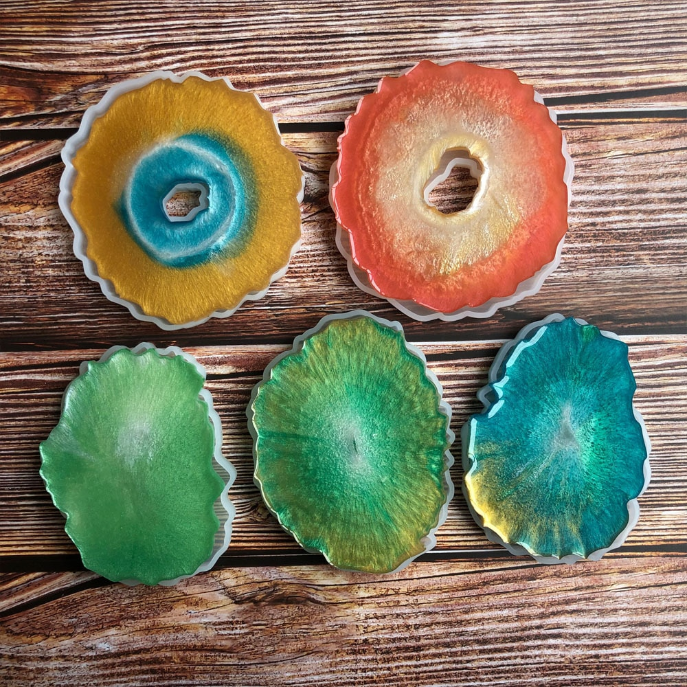 5pcs Agate Coasters Resin Casting Mold Round Ovale Wave Shape Silicone Jewelry Making Epoxy Mould Cr