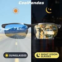 coolpandas men aluminum magnesium photochromic sunglasses polarized driving chameleon sun glasses day night vision gafas de sol