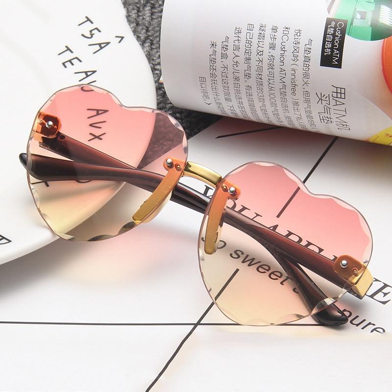 Милые винтажные детские солнцезащитные очки UV400, детские солнцезащитные очки без оправы в форме сердца, круглые солнцезащитные очки для мал...