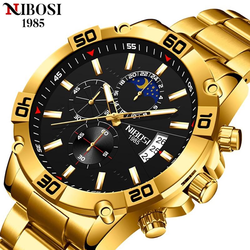 NIBOSI 2021 جديد الرجال الساعات أفضل العلامة التجارية الفاخرة ساعة معصم كرونوغراف العسكرية موضة ساعة كوارتز ساعة رجالية Relogio Masculino