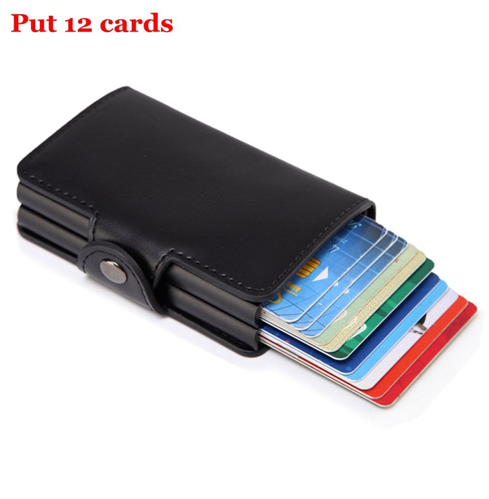 Men Rfid Wallet Metal Case Aluminum Double Box Leather Credit Card Holders for women Slim Anti Prote