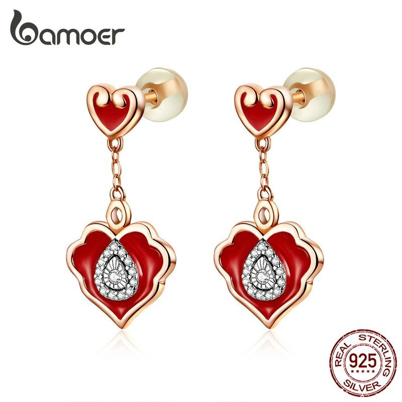Bamoer 925 brincos de prata esterlina primavera festival chinês esmalte vermelho ruyi padrão balançar brincos para mulher bse324