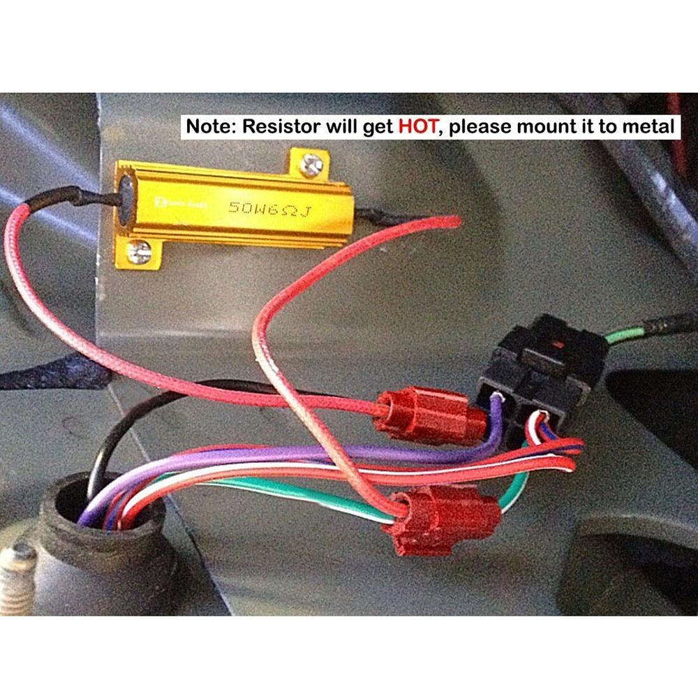 LED Load Resistors SUV Truck Turn Signal W/ 8Pcs T-Taps 50W 6 Ohm Car DRL
