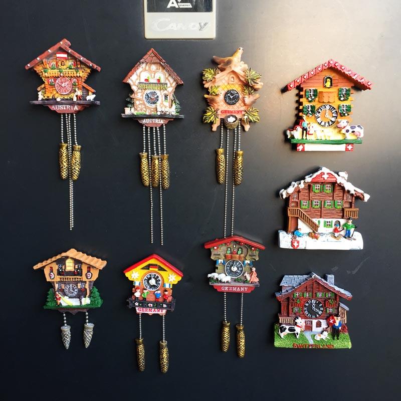 Alemania Austria Suiza Turismo regalo de recuerdo pintado decoración Cuco reloj imán magnético nevera