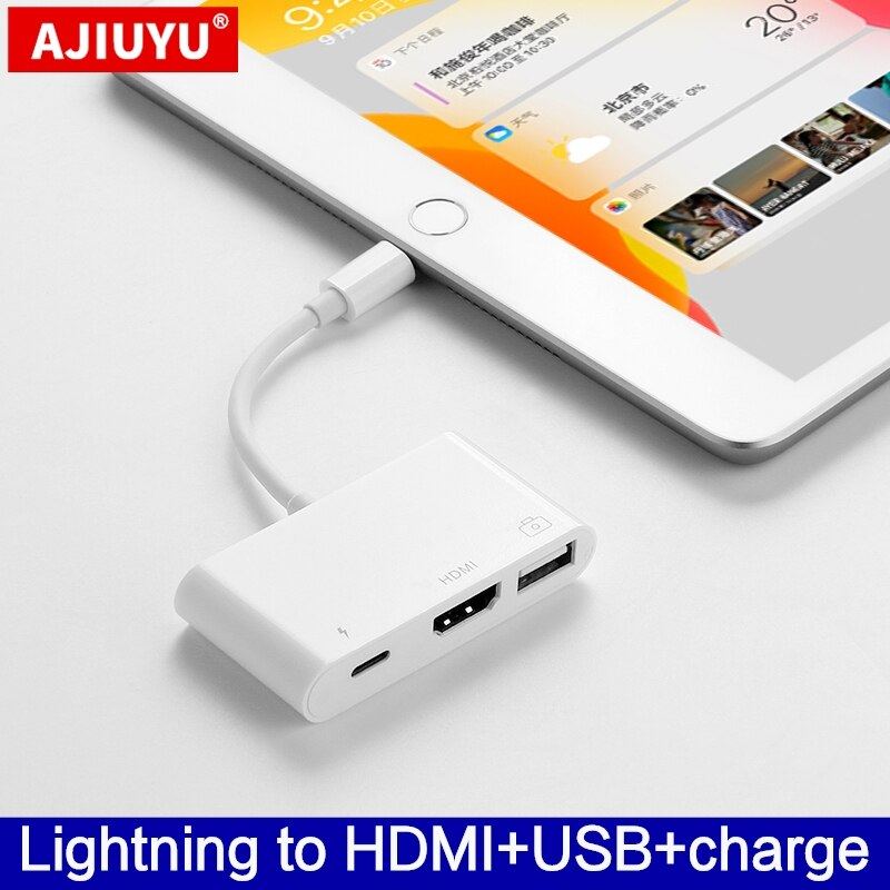 AJIUYU OTG Lightning USB adaptateur convertisseur pour apple iPad Air 3/2 pro mini 4 5 10.2 9.7 hub 4K HDMI dock connecter clavier caméra