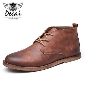 Men's Autumn Winter Leather Boots Lace-Up Shoes Men British Fashion Ankle Tooling Ankle Boots For Male Popular Men Boots