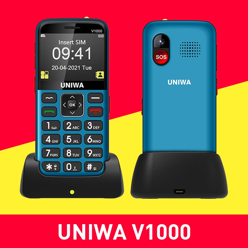 UNIWA V1000 2.31 Inch Mobile Phone Big Button Telephone 0.3MP Camera Russian Hebrew Keyboard for American 4G Feature Cellphone