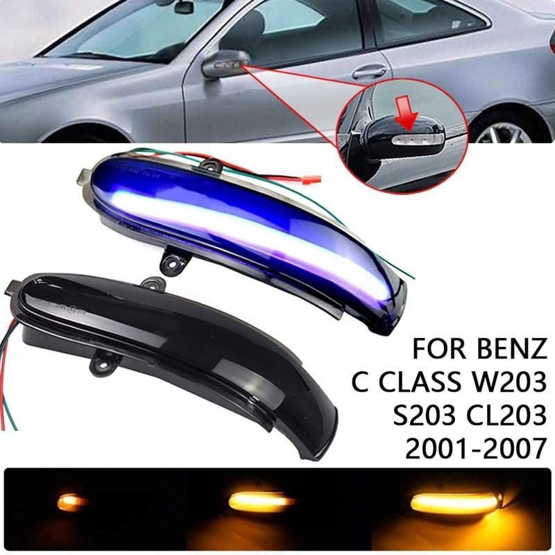 الأزرق والأصفر LED ديناميكية مرآة الرؤية الخلفية أضواء لبنز C الفئة W203 S203 CL203 2000-2007 بدوره مصباح إشارة المؤشر