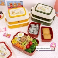 cute childrens bento box portable double layer independent large capacity microwave oven picnic school lunch fruit food storage