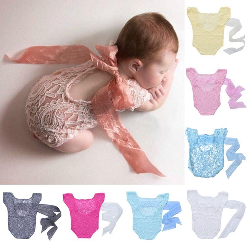 Recién Nacido, niña, encaje, lazo de seda, espalda, mono, accesorios de fotografía conjunto nuevo H37A