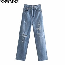 XNWMNZ 90S Wome Fashion wide-leg Ripped Jeans Female Chic  high-waisted pockts button zip fly full-l