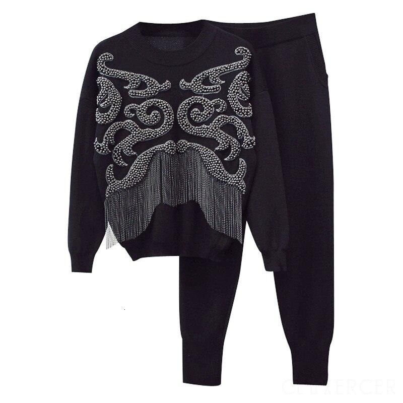 Deat 2020 outono tassel malha agasalho sweatshirts casual terno feminino 2 peça conjunto calça terno esportivo feminino mg744