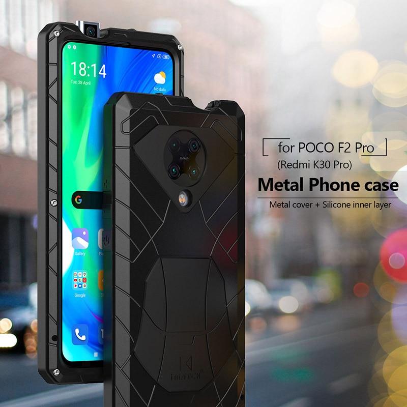 جراب هاتف Xiaomi Mi POCO F2 Pro Redmi K30 Pro ، جراب معدني من الألومنيوم الصلب شديد التحمل ، غطاء خلفي مع زجاج مقسّى