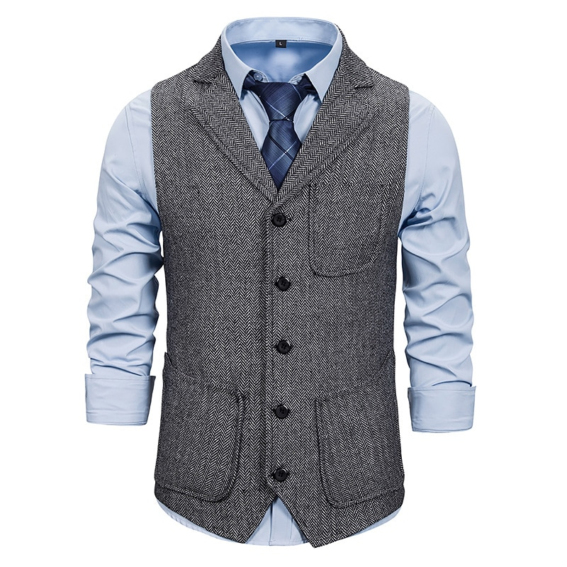 Жилетка мужская классическая, приталенный силуэт, повседневный деловой пиджак, без рукавов