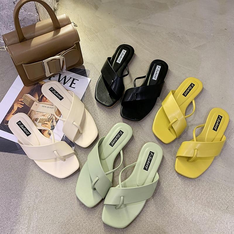 Sandalias de verano 2020 para mujer, sandalias casuales para playa, sandalias para mujer, chanclas planas de verano para casa, zapatillas para mujer