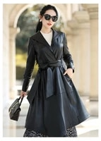 2021 spring new haining sheepskin womens medium length leather and cotton slim windbreaker