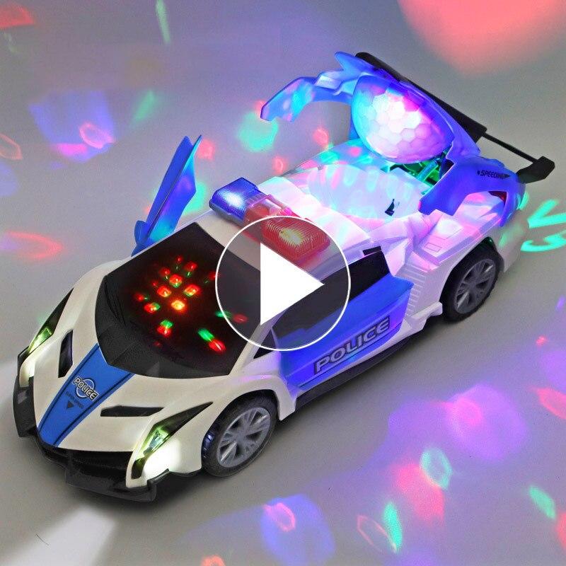 Электрические танцевальные машинки, вращающиеся универсальные игрушечные машинки с подсветкой и музыкой, игрушечные машинки для мальчико...