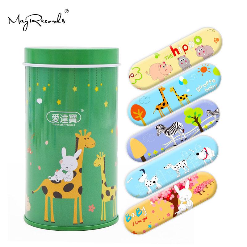 ¡Envío gratis! vendajes adhesivos tirita de primeros auxilios para niños de 50 Uds de dibujos animados de PE impermeables con estilo de animales