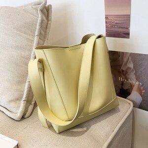 High Capacity Big PU Leather Bucket Crossbody Bags for Women 2021 Summer Fashion Solid Color Shoulder Handbag Yellow