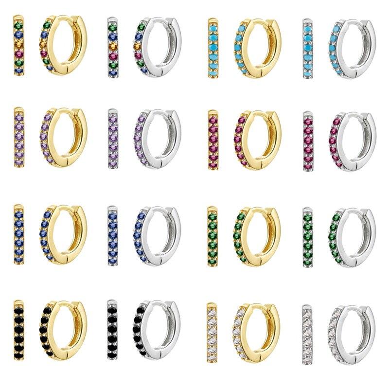 S925 de Plata pendientes de aro pequeño arco iris de circón de...