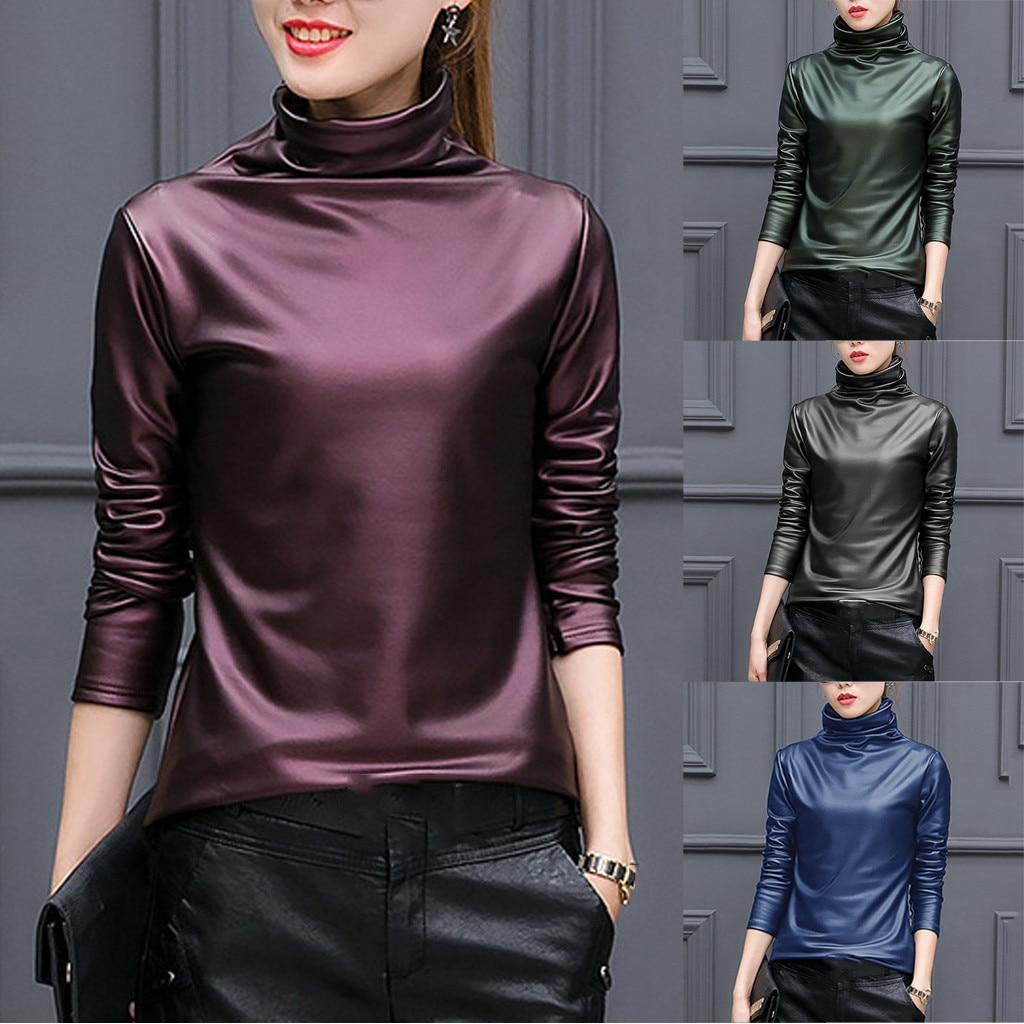 T-shirt Frauen Grundlegende T-shirt Faux Leder Solide Rollkragen Langarm Tops Casual Ropa Mujer Ästhetischen Top Frauen Harajuku T Hemd