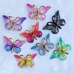 Разноцветные бабочки с отверстием 23*38 мм, 10 шт., стразы с плоской задней поверхностью и аппликацией, сделай сам, аксессуары для скрапбукинга, B27