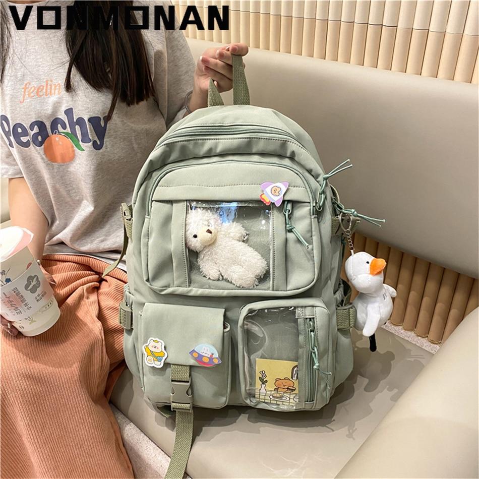 Милый женский вместительный рюкзак, водонепроницаемый нейлоновый женский школьный рюкзак, женский рюкзак для ноутбука для колледжа, милые ...