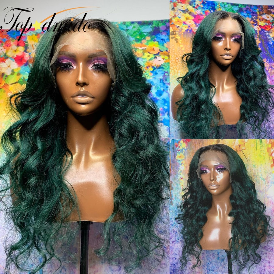 Ombre Green Color 13x4 Lace Front Wigs for Women Brazilian Remy Hair 4x4 Closure Wigs Pre Plucked Body Wave Human Hair Wigs
