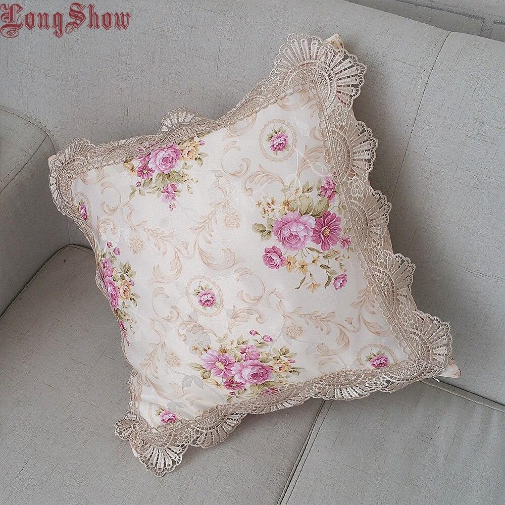 Hogar decorativo 45x45cm cuadrado clásico europeo Jacquard estilo Floral rosa/Color púrpura funda de almohada