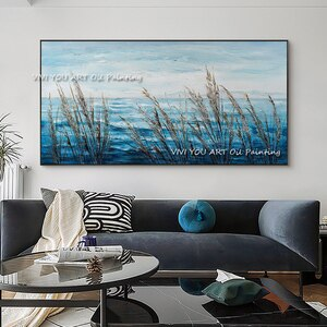 Artist 100%  Handmade Modern Aestheticism  Reed Landscape Painting on Canvas Sky Blue Lake Oil Painting for Room Decor