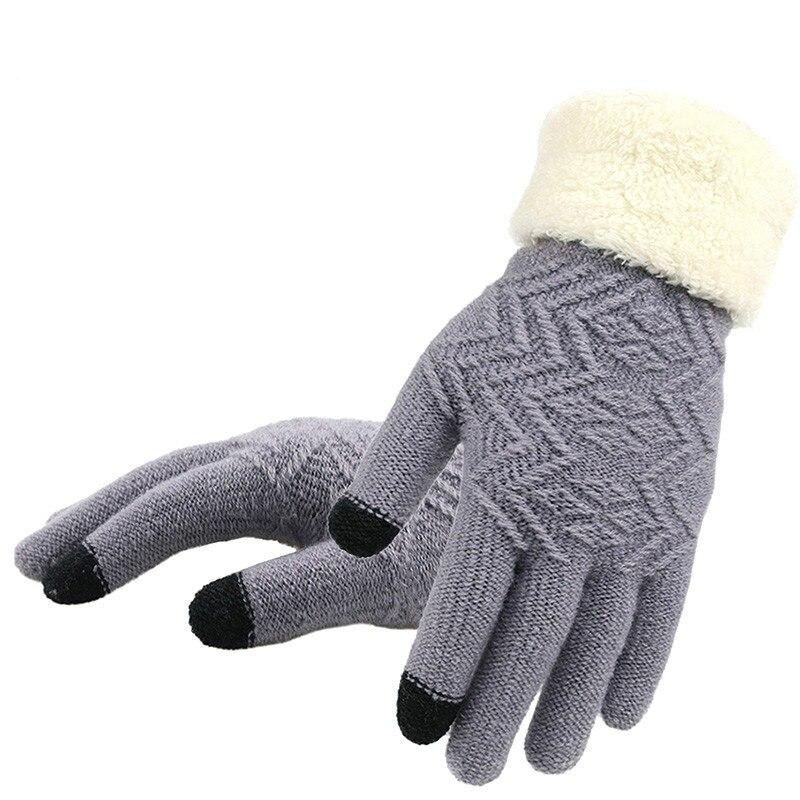 Зимние женские вязаные перчатки, женские перчатки для сенсорного экрана, вязаные плотные теплые мягкие эластичные вязаные варежки с пальца...