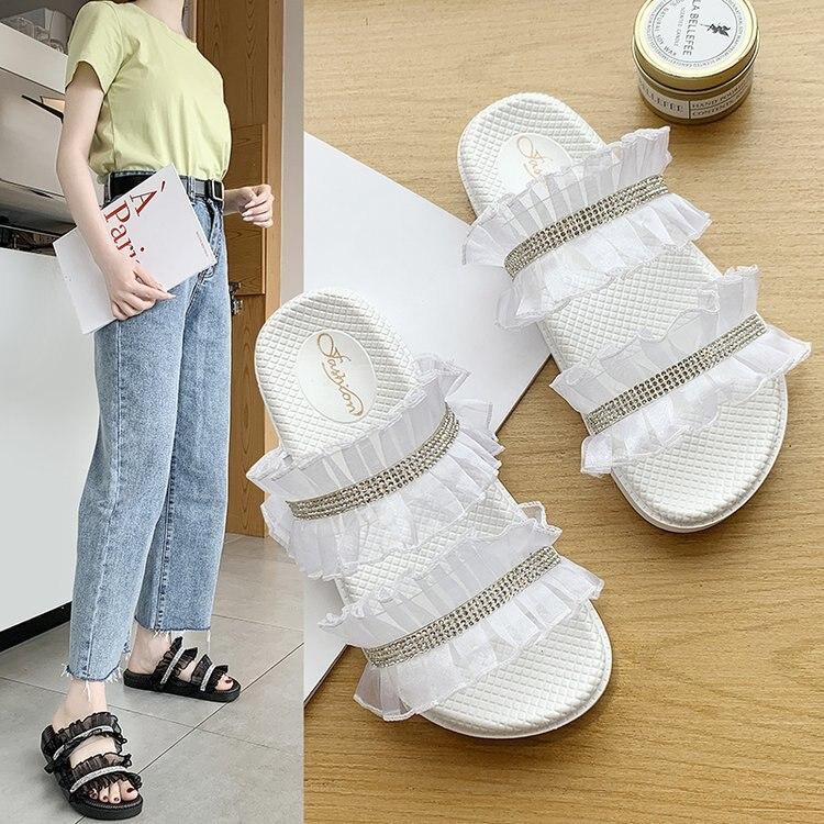 Chanclas de malla de encaje estilo diosa de verano con suelas de goma y suela plana de red zapatillas de mujer zapatos de mujer