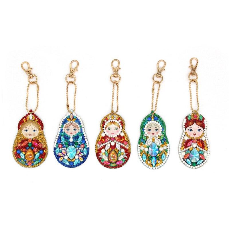HeeBenor 5pcs Diamond Keychains Cute Pattern Doll Shaped Keyrings Bag Pendant Diamond Painting Mosaic Decoration YSK24