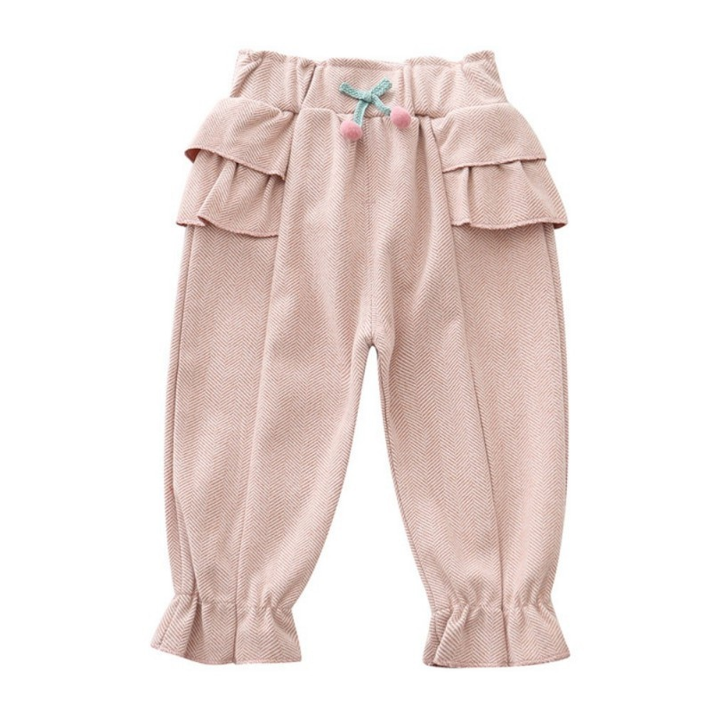 6Girls Pants Autumn Children Kids Baby Girls Cotton Solid Print Pants Casual Bow Decoration Trousers Toddler Clothes Bottoms
