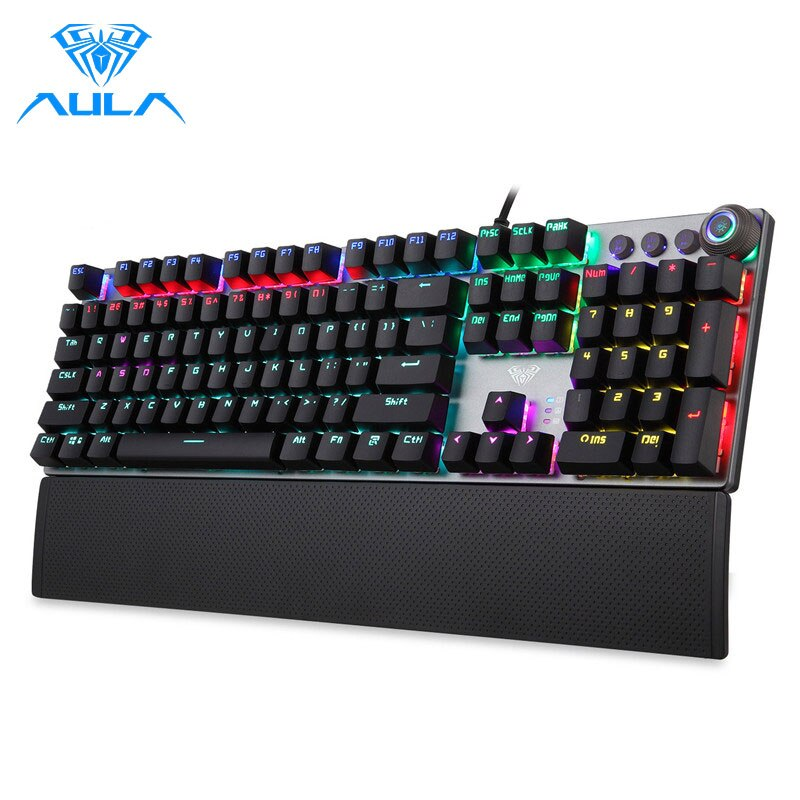 AULA F2088 Mechanical Gaming Keyboard Anti-ghosting 104 brown Switch blue Wired Mixed Backlit Keyborad for Game Laptop PC