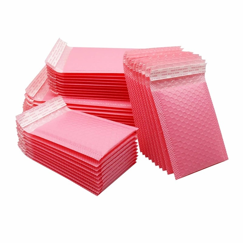 50 шт. пузырьковый конверт, розовый полиэтиленовый конверт, деловая упаковочная сумка, многоугольный конверт, поли конверт