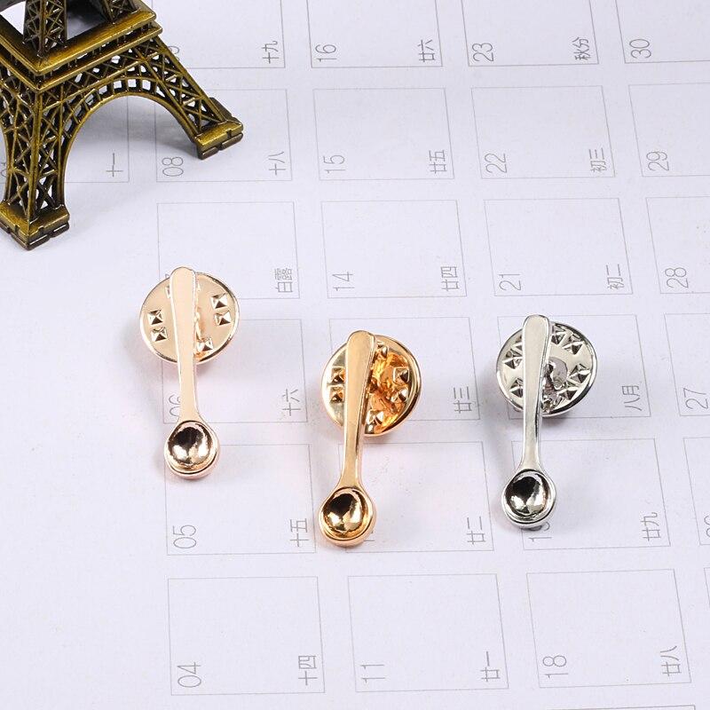 Broche de cuchara a la moda, Color dorado, rosa, plateado, café, cuchara, Pin, bolso, insignia de botón, pines esmaltados de Metal para mujer, joyería para niños